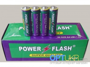 Батарейка солевая Power Flash R6 AAA